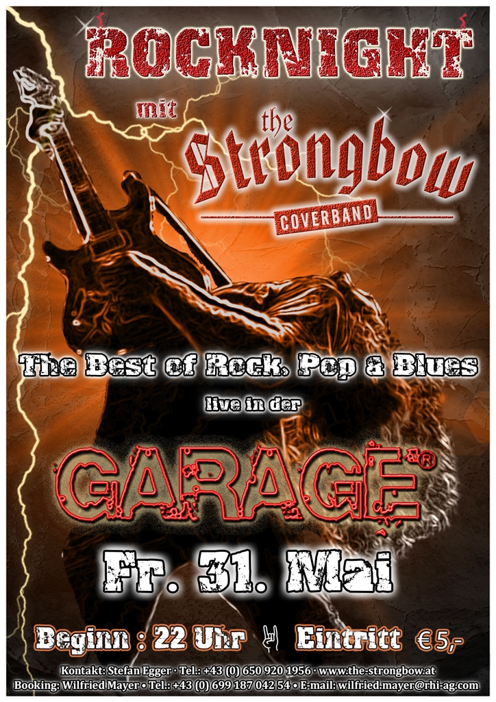 Rocknight - Coverband Strongbow Plakat - 31. Mai 2013